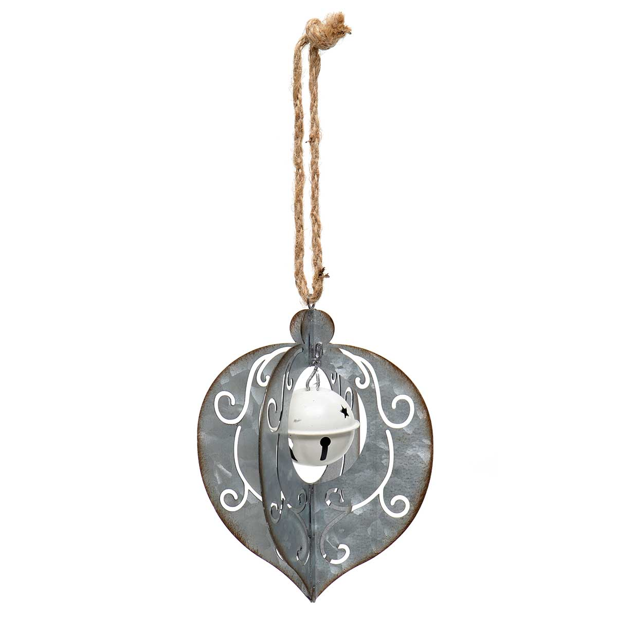 METAL KISMET ORNAMENT WITH JINGLE BELL
