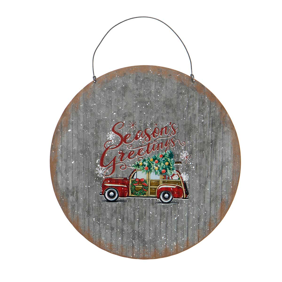METAL CAR ROUND SIGN ORNAMENT