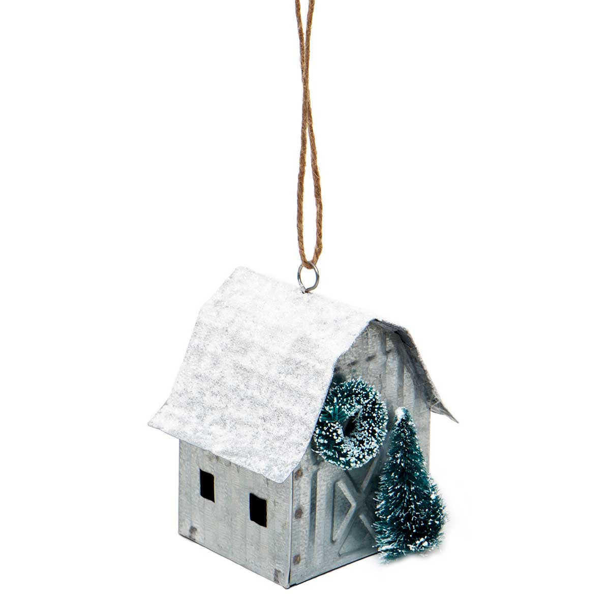 METAL BARN ORNAMENT WITH WHITE GLITTER