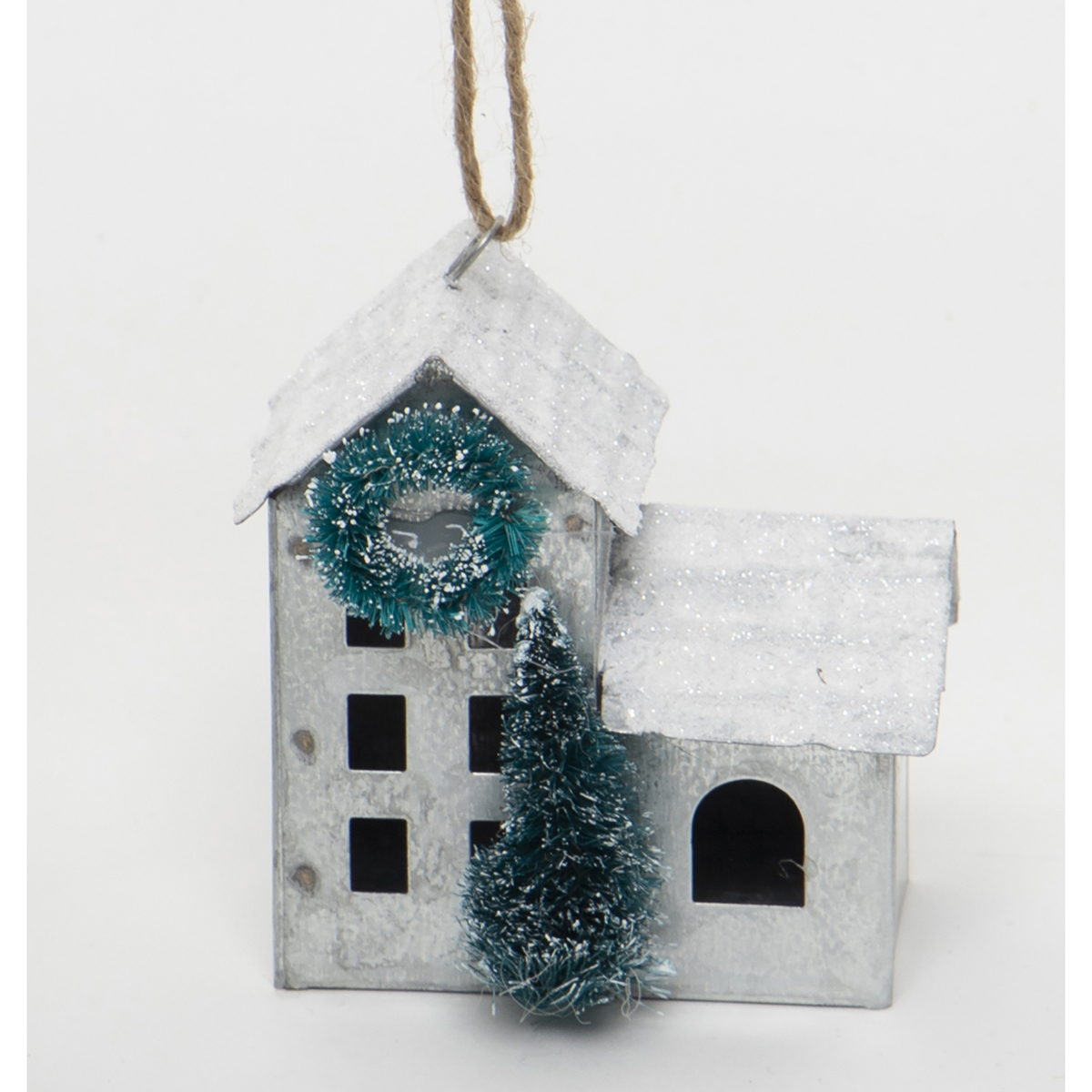 METAL HOUSE ORNAMENT WITH WHITE GLITTER