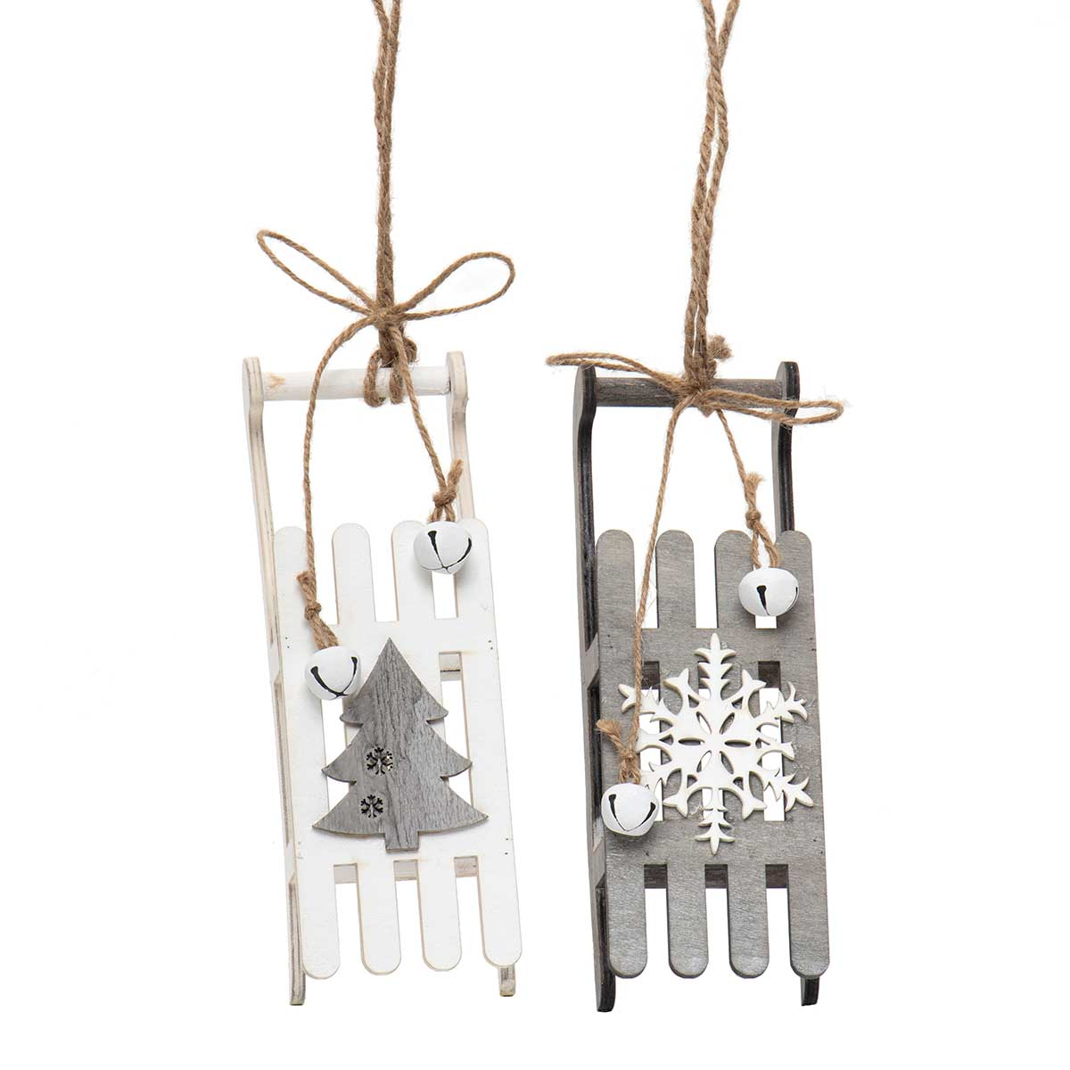 GREY/WHITE WOOD SLED ORNAMENT WITH WHITE