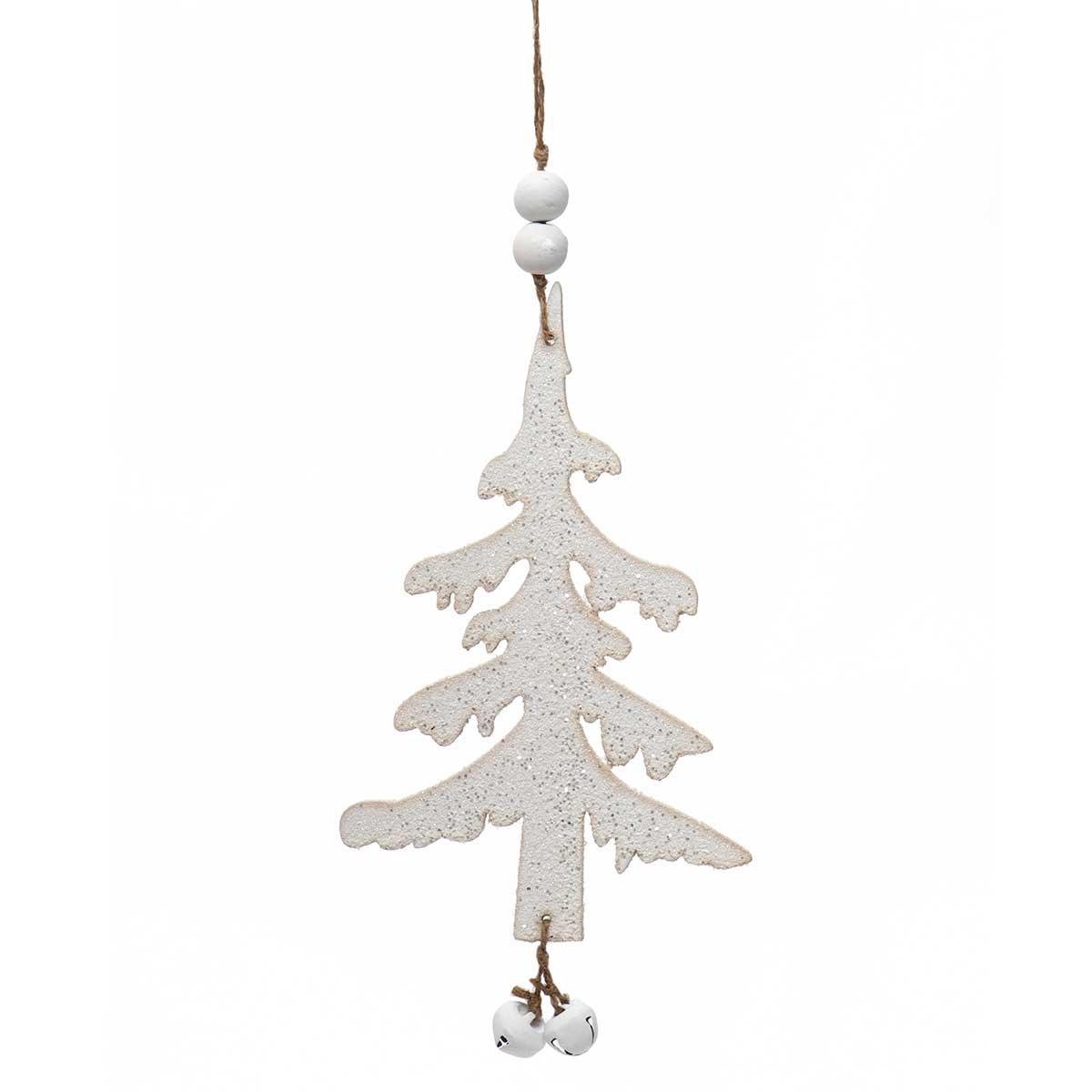 WHITE WOOD TREE DANGLE ORNAMENT