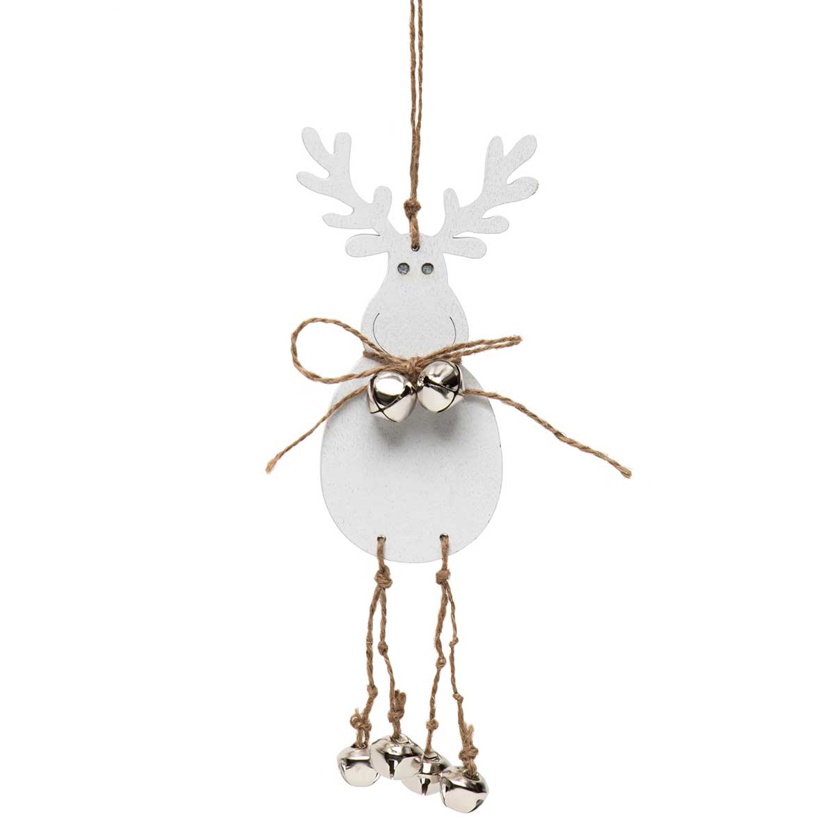 WHITE WOOD MOOSE ORNAMENT WITH BOW,