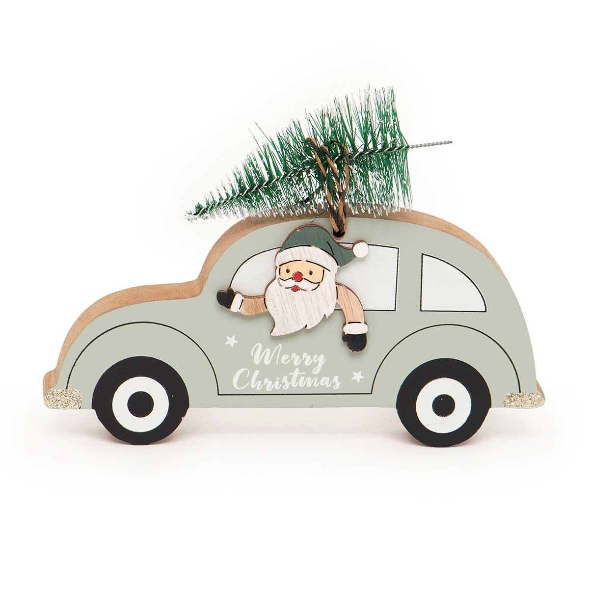 WOOD SANTA IN CAR WITH TREE