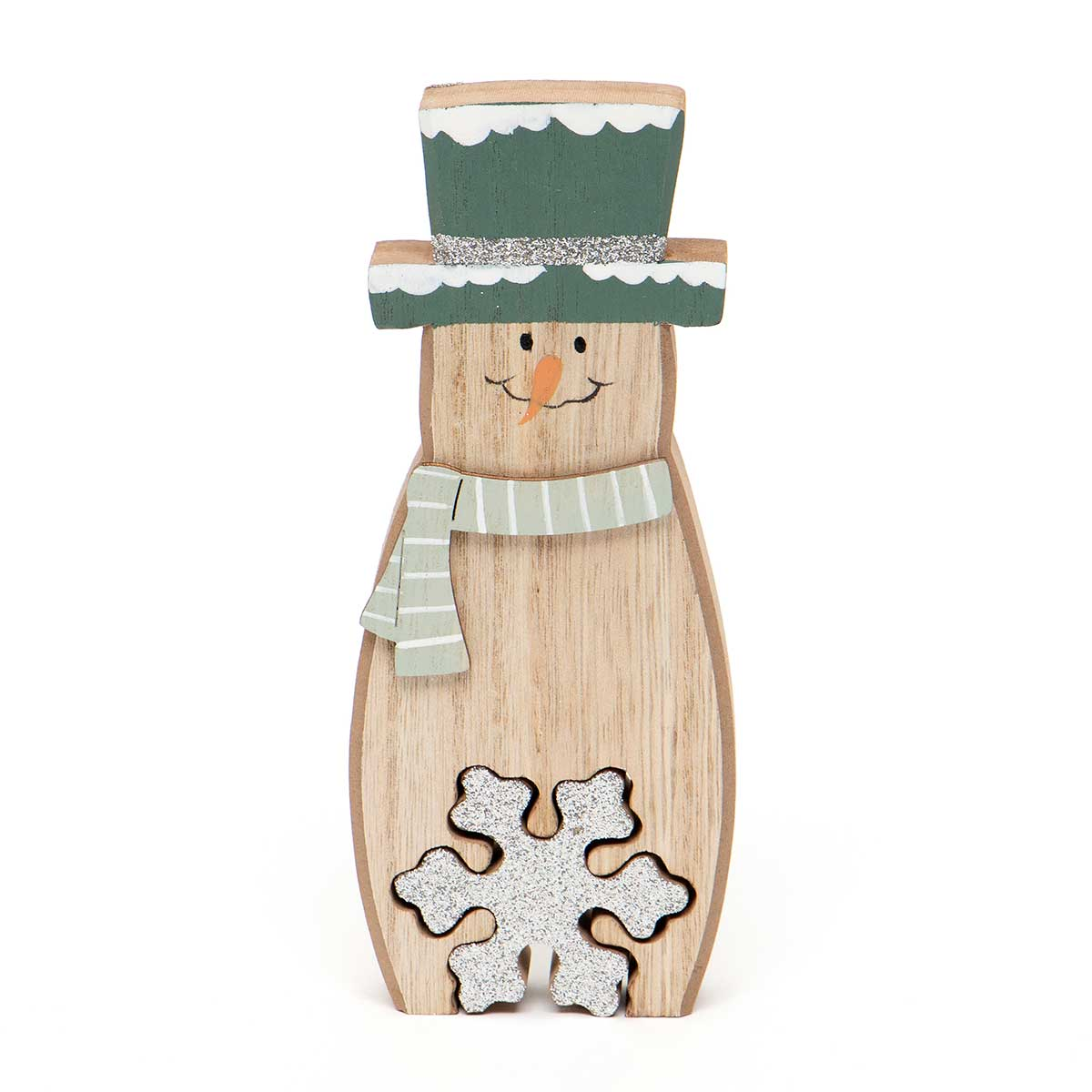 WOOD SNOWMAN WITH GLITTER