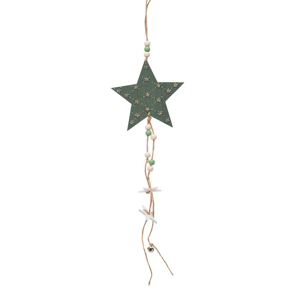 GREEN WOOD STAR DANGLE WITH GLITTER,