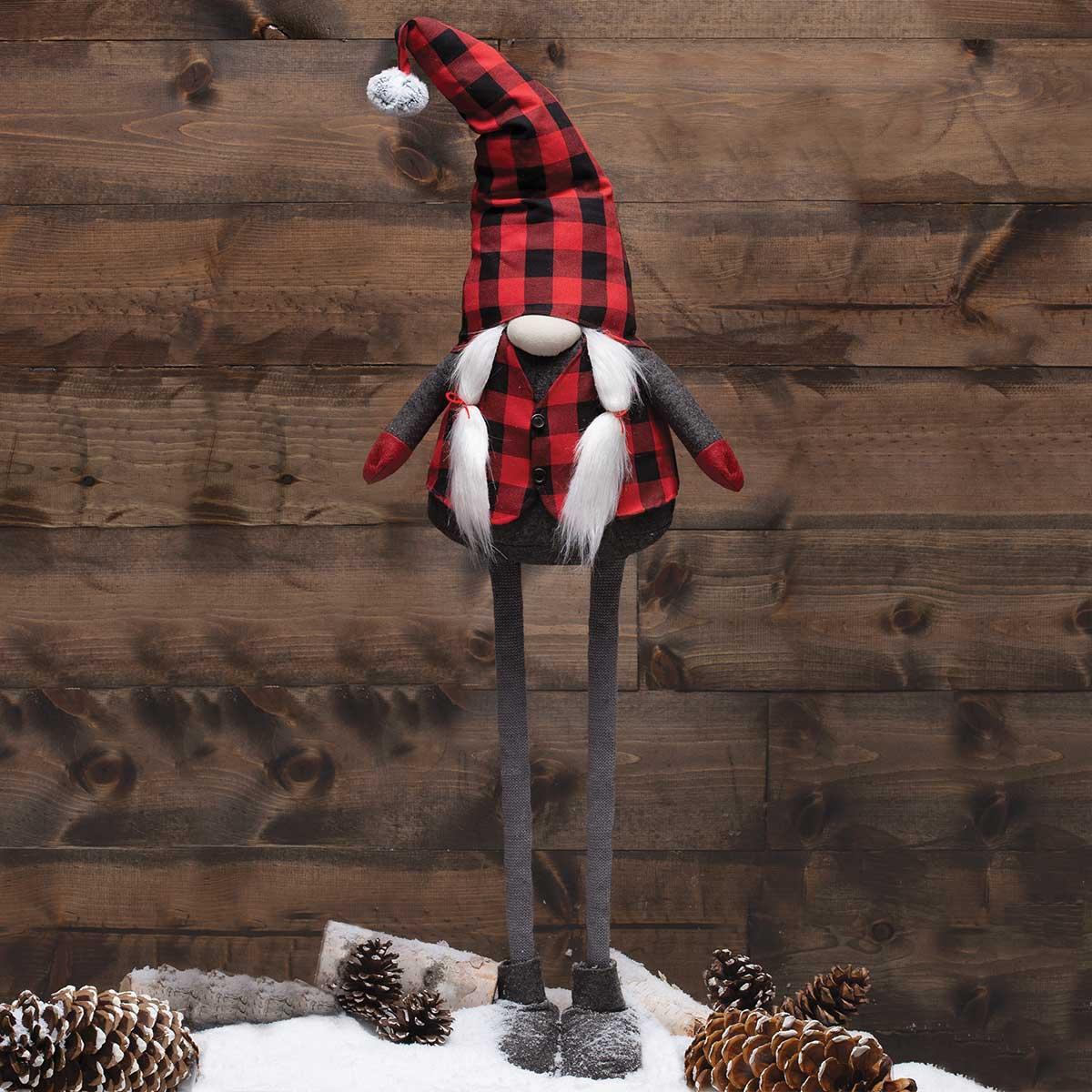 RED/BLACK BUFFALO PLAID EXPANDABLE GNOME GIRL