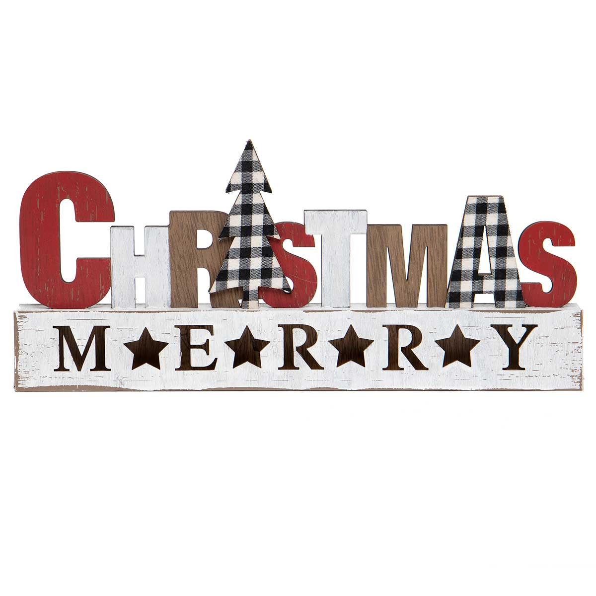 "WOOD ""MERRY CHRISTMAS"" SIGN"