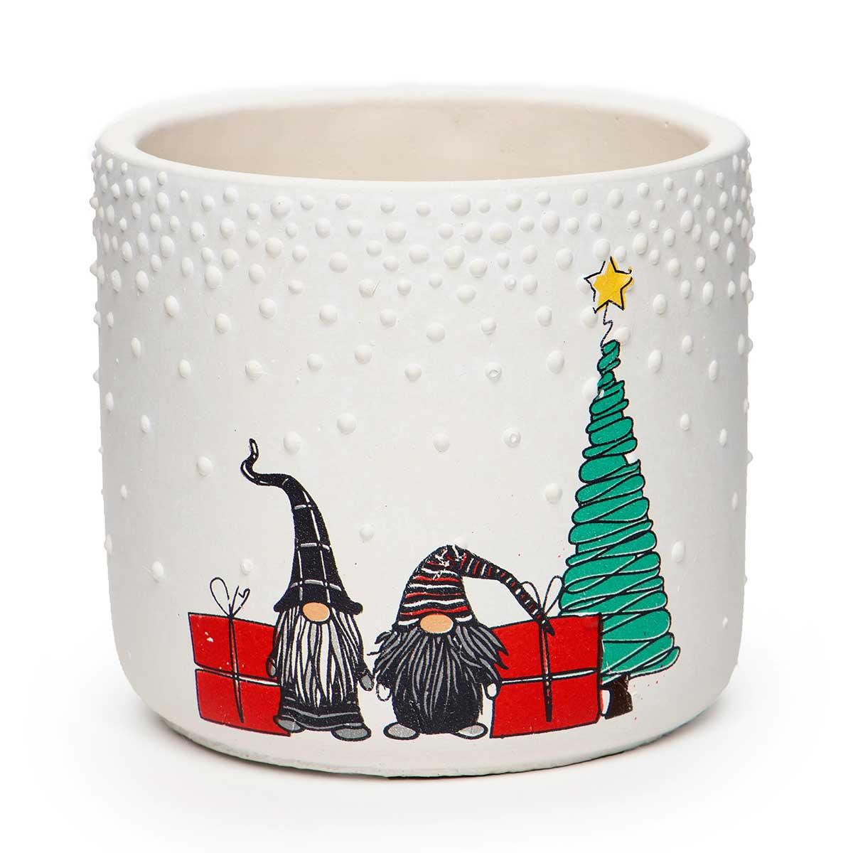 WHITE CONCRETE GNOME CHRISTMAS SCENE