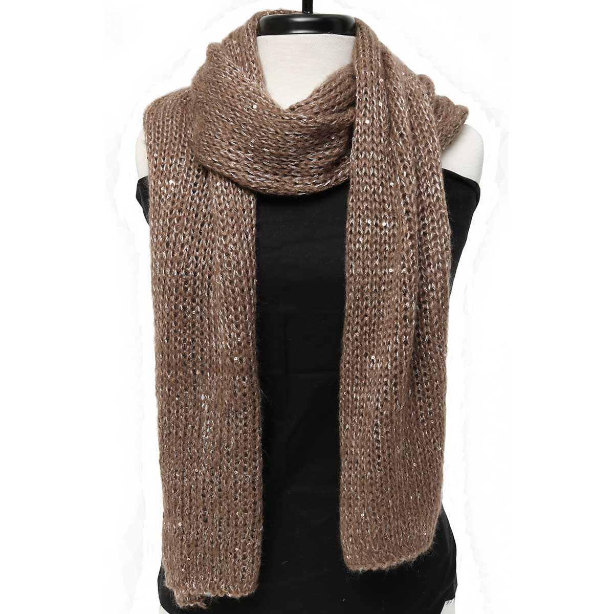 "Mini Sequin/Sparkle Knit Scarf 88""x16"" Taupe *30sp"