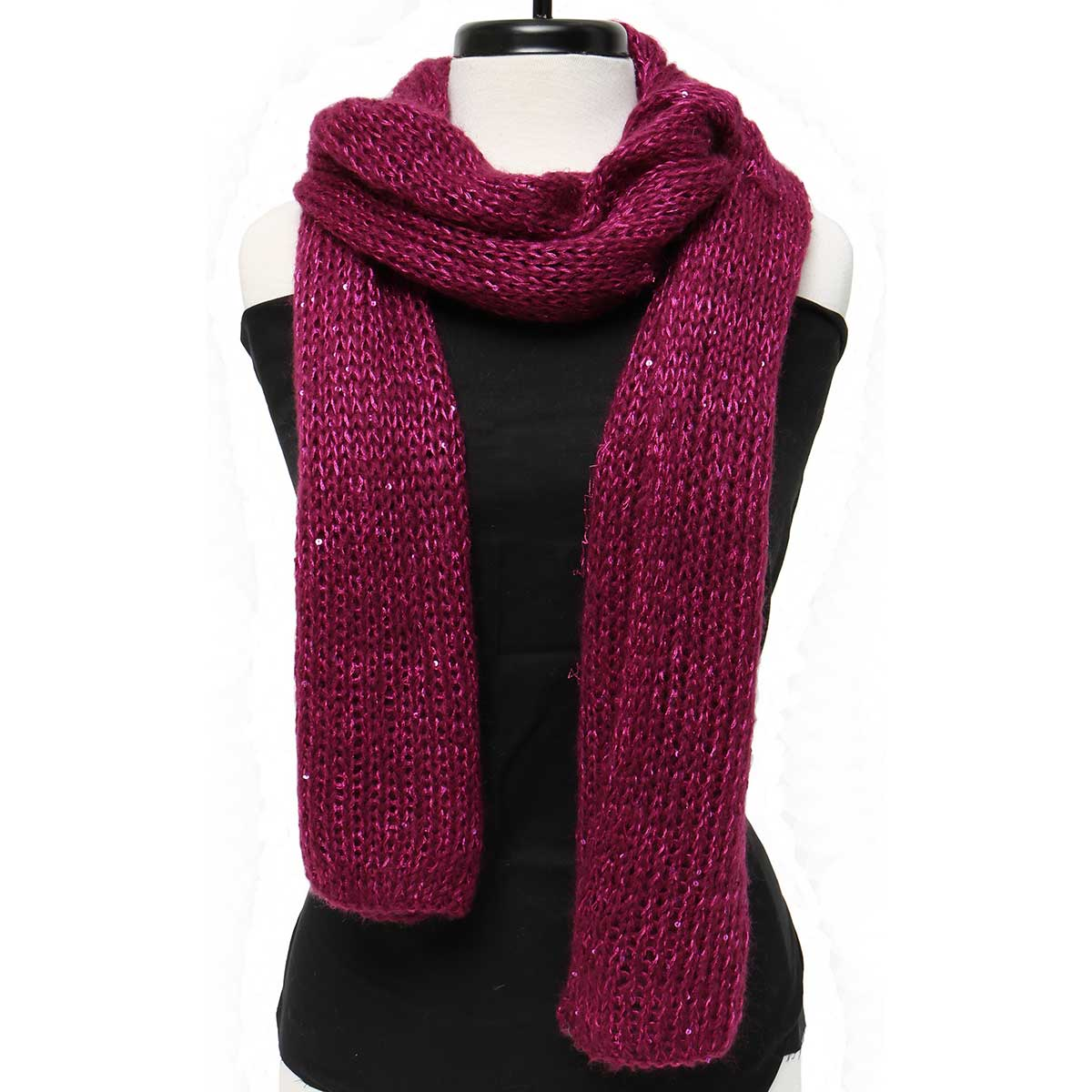 "Mini Sequin/Sparkle Knit Scarf 88""x16"" Magenta *30sp"