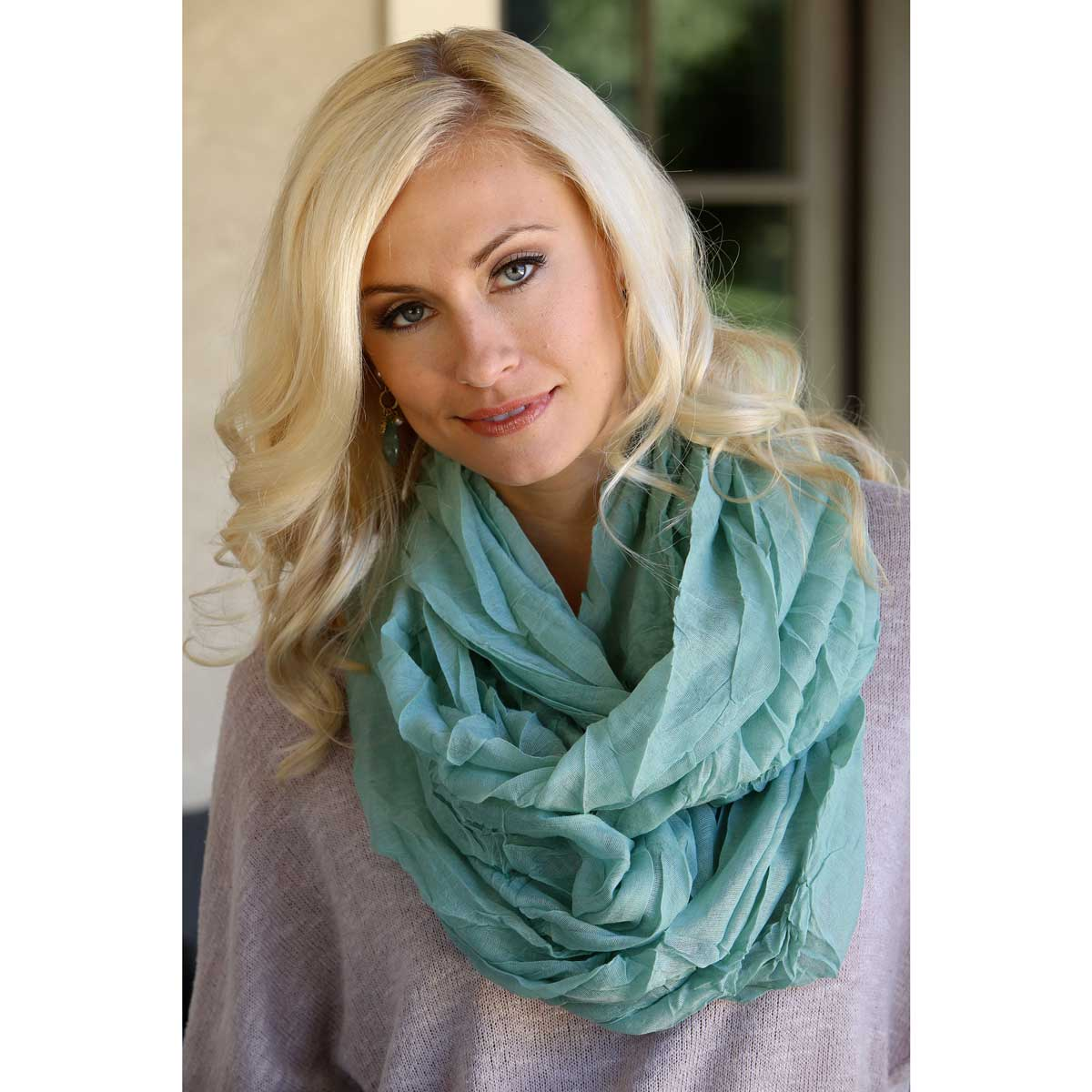 "BLUE SHEER GAUZY INFINITY SCARF 75""X39"" *70sp"