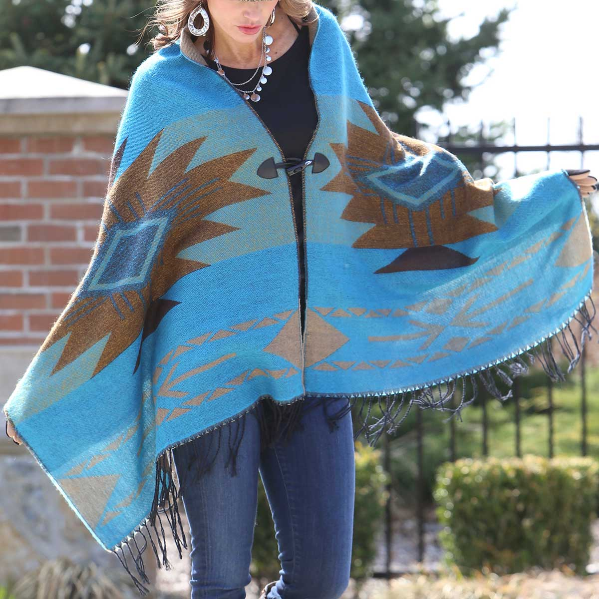 "TEAL NAVAJO SHAWL WITH TOGGLES REVERSIBLE 70""x26"""