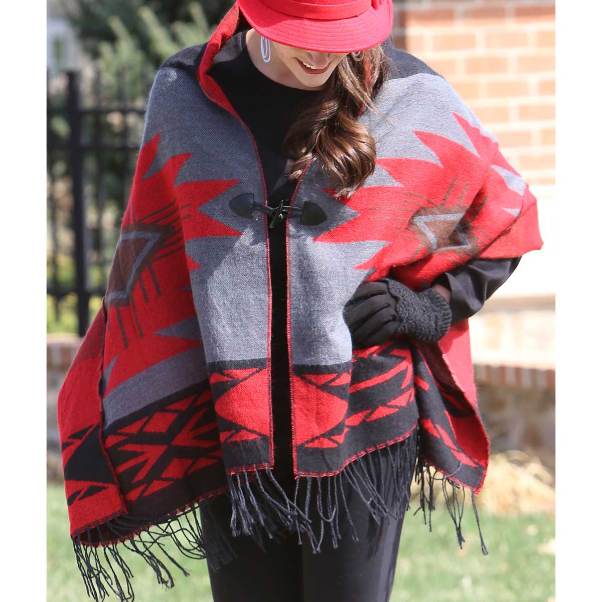 "RED NAVAJO SHAWL WITH TOGGLES REVERSIBLE 70""X26"""