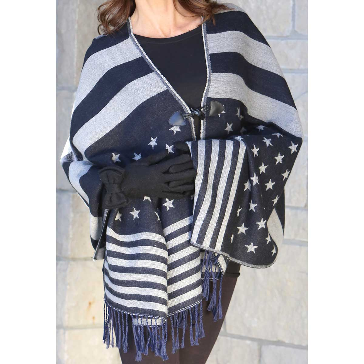 Black Old Glory Blanket Shawl with Toggle Closure *30sp