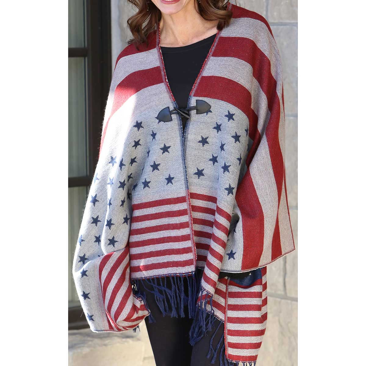 Red Old Glory Blanket Shawl with Toggle Closure *30sp
