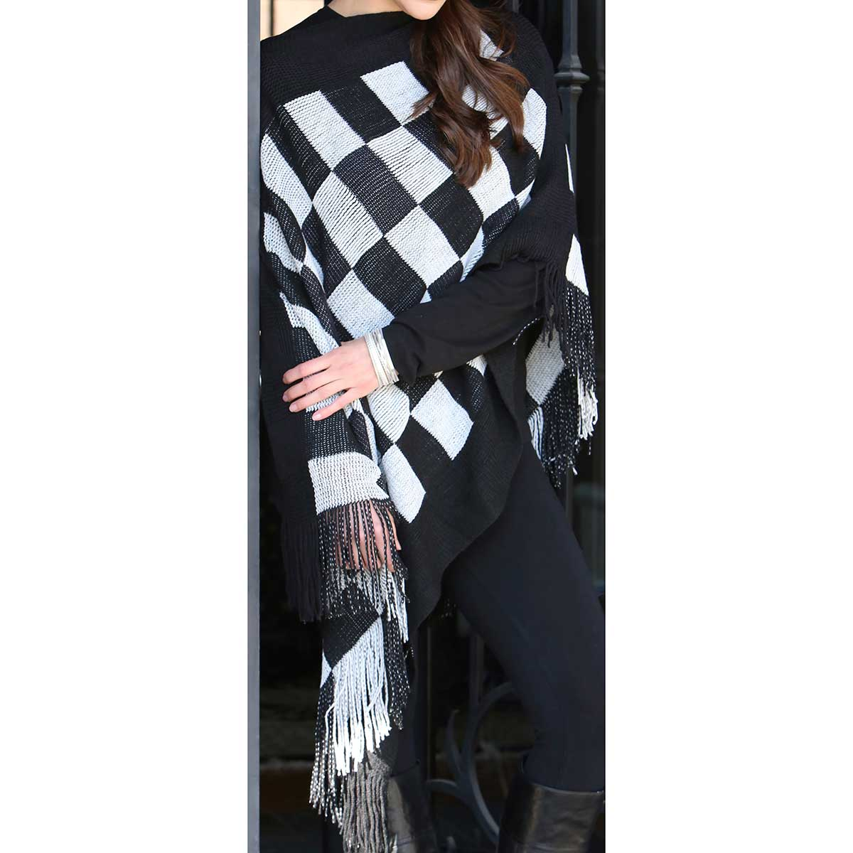 Black Checkered Knit Poncho with Fringe *30sp