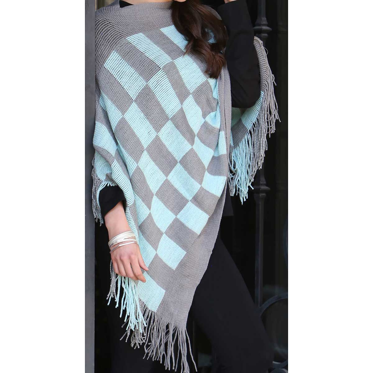 Ming Checkered Knit Poncho with Fringe *30sp