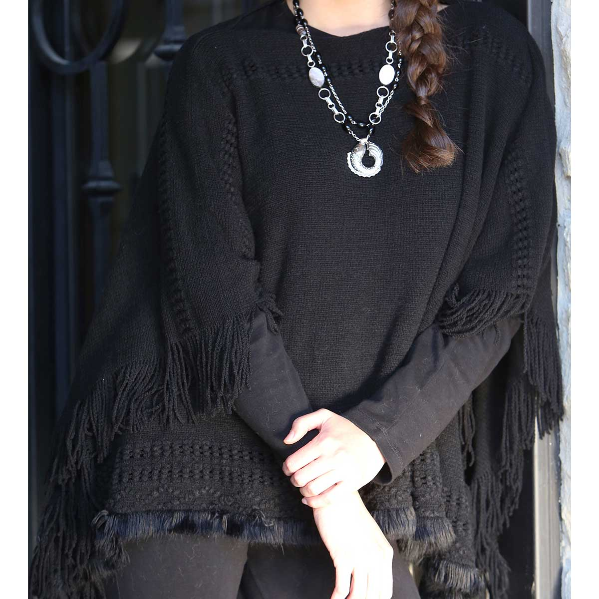 Cross Knit Black Poncho with Fringe *30sp