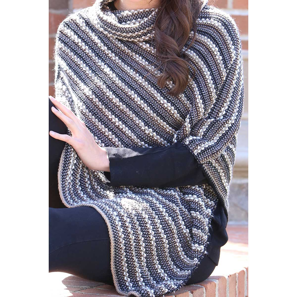 Blue/Cream Woven Knit Weekender Poncho *30sp