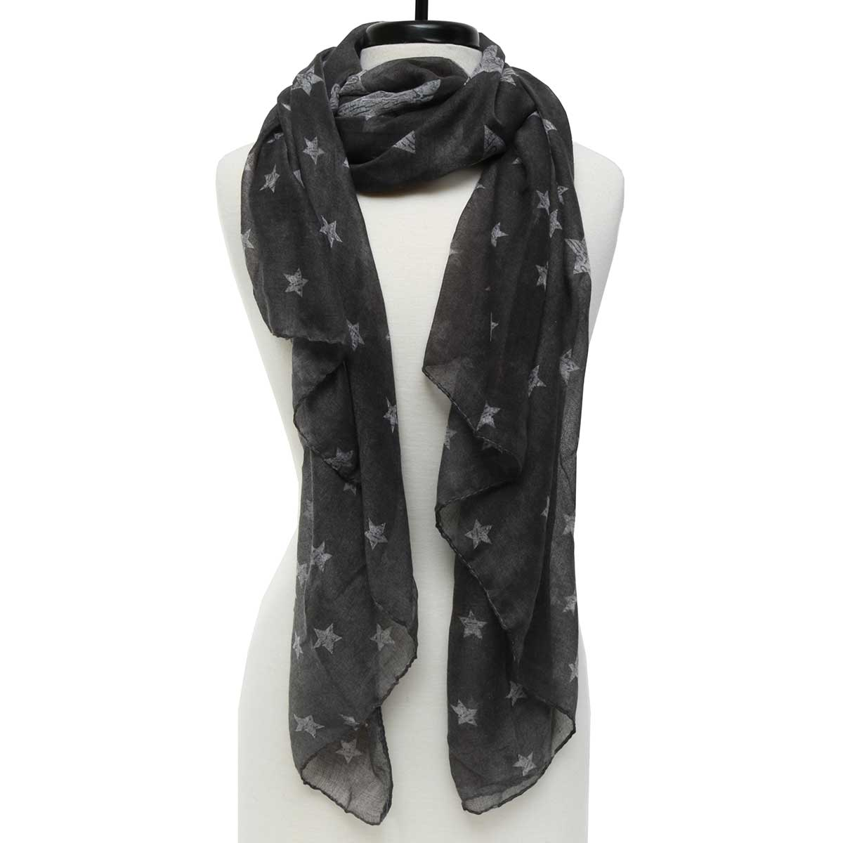 "Gray Stars Scarf 73""x37"" *30sp"