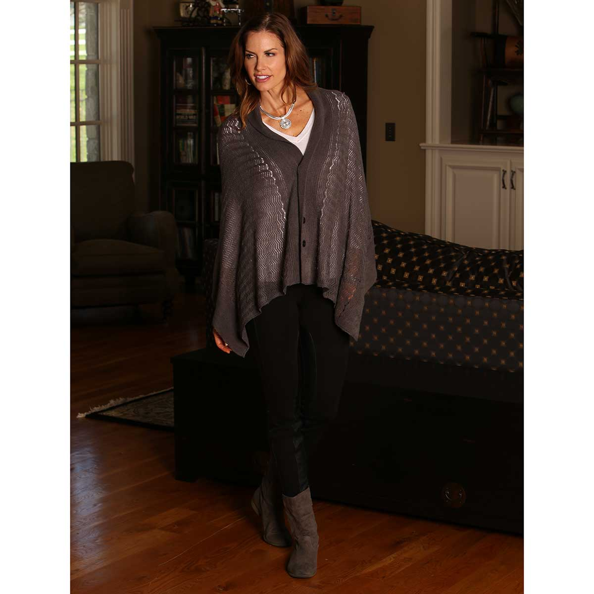 """GREY DELICATE KNIT WRAP WITH BUTTONS 62""""X22"""""""
