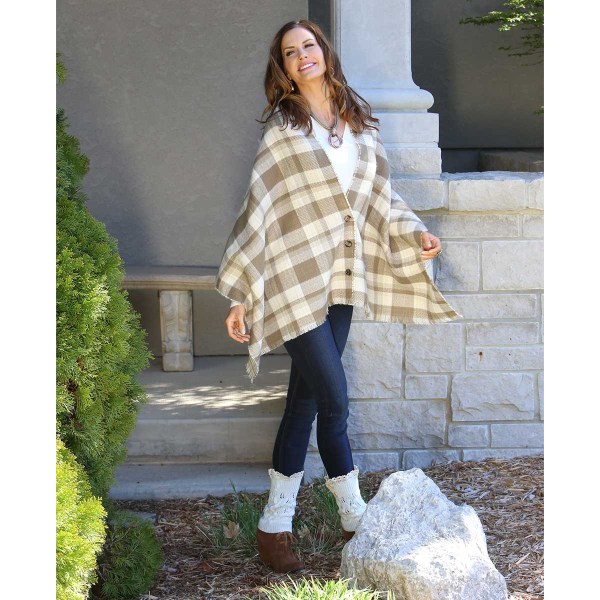 "KHAKI PETITE PLAID REVERSIBLE WRAP WITH BUTTONS 70""X24"""