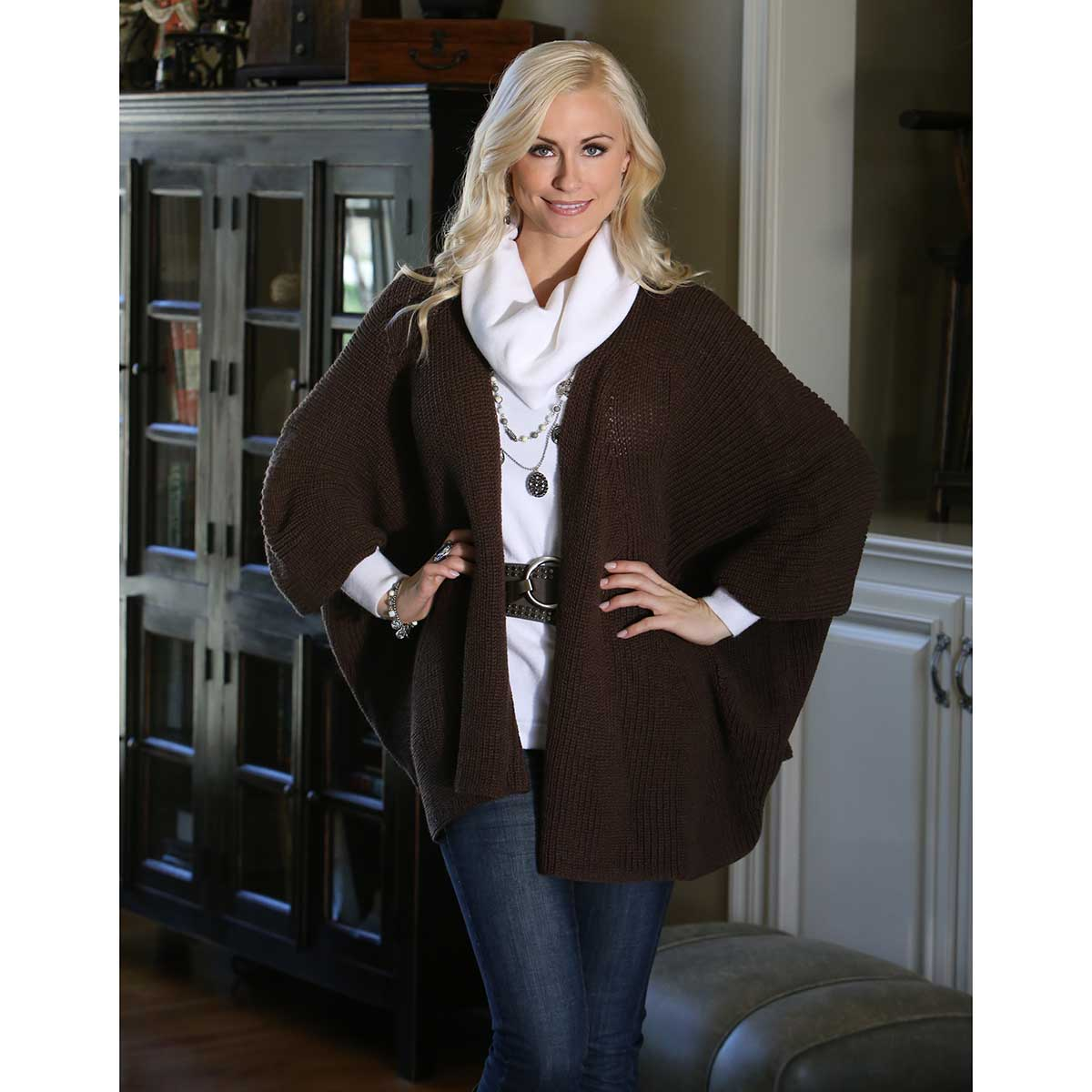 "BROWN SWING SWEATER 27"" LONG"