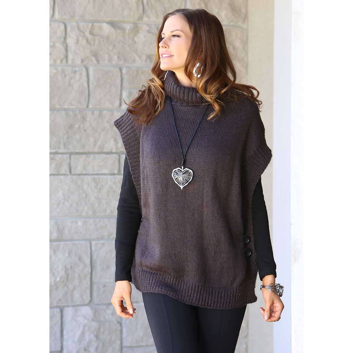 """SLATE TURTLENECK TUNIC WITH SIDE BUTTONS 26"""" LONG"""