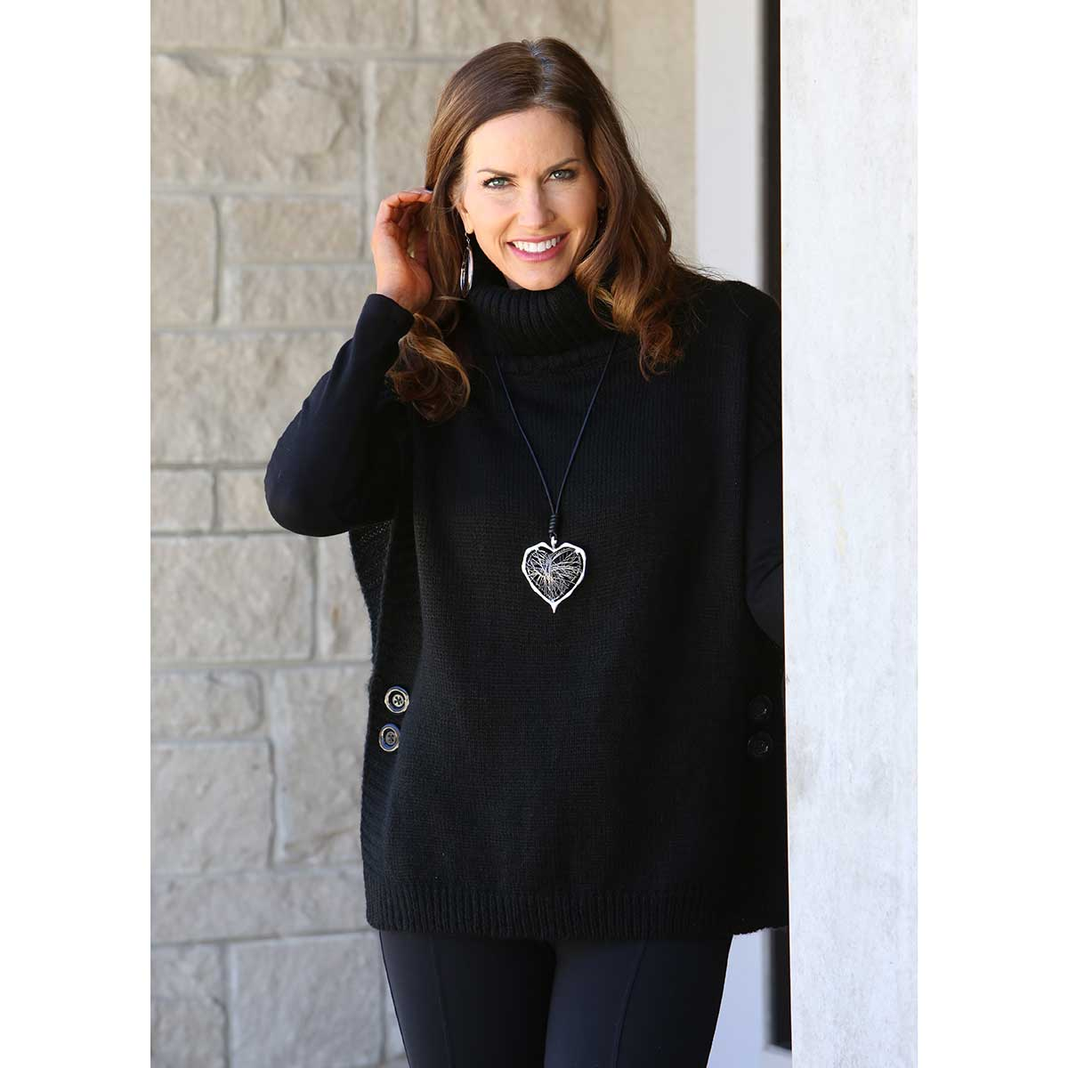"""BLACK TURTLENECK TUNIC WITH SIDE BUTTONS 26"""" LONG 30sp"""