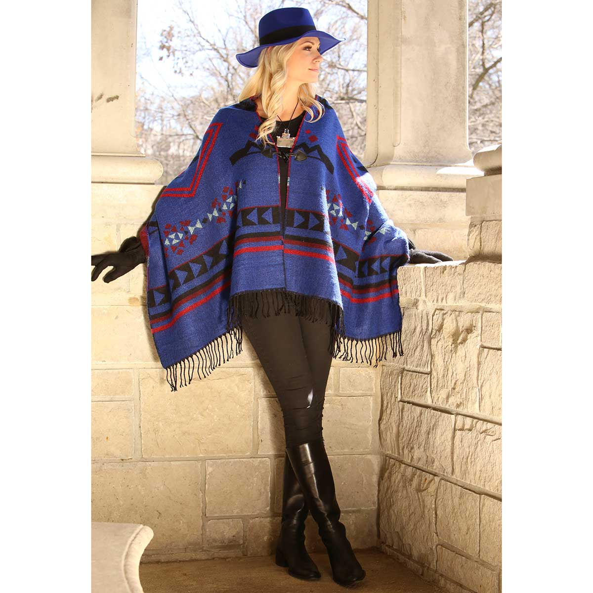 """ROYAL BLUE REVERSIBLE PUEBLO WRAP WITH TOGGLES 72""""X27"""""""