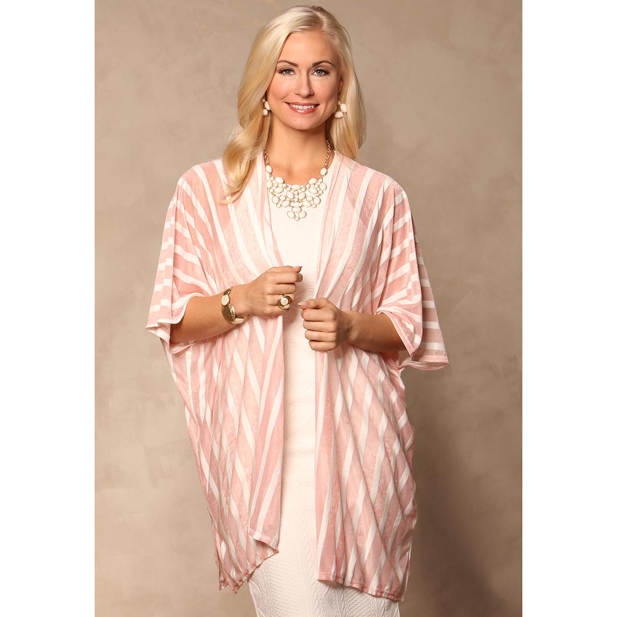 PEACH LIGHTWEIGHT STRIPED Wrap