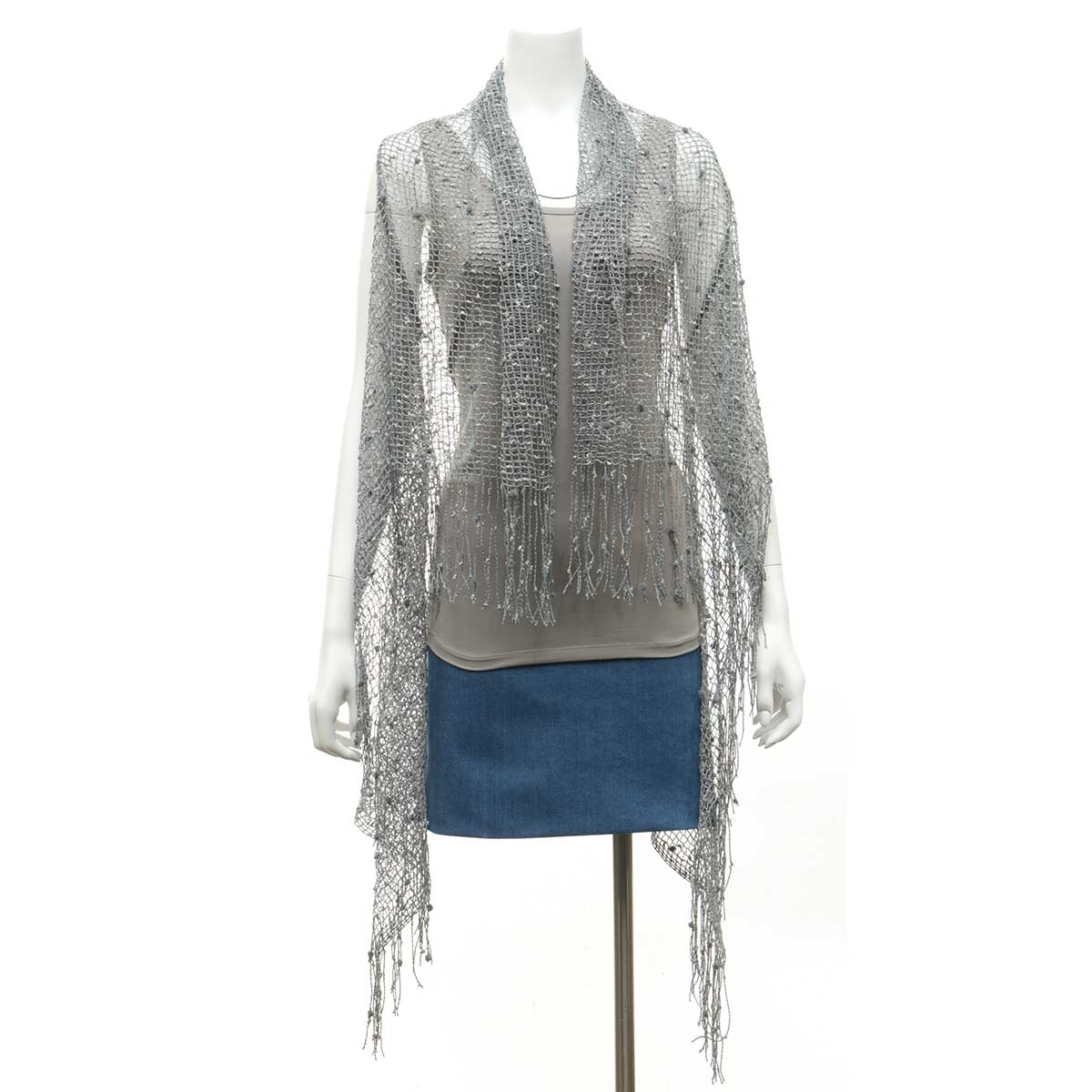 "Grey Sparkle Vest with Fringe 43""x60"""