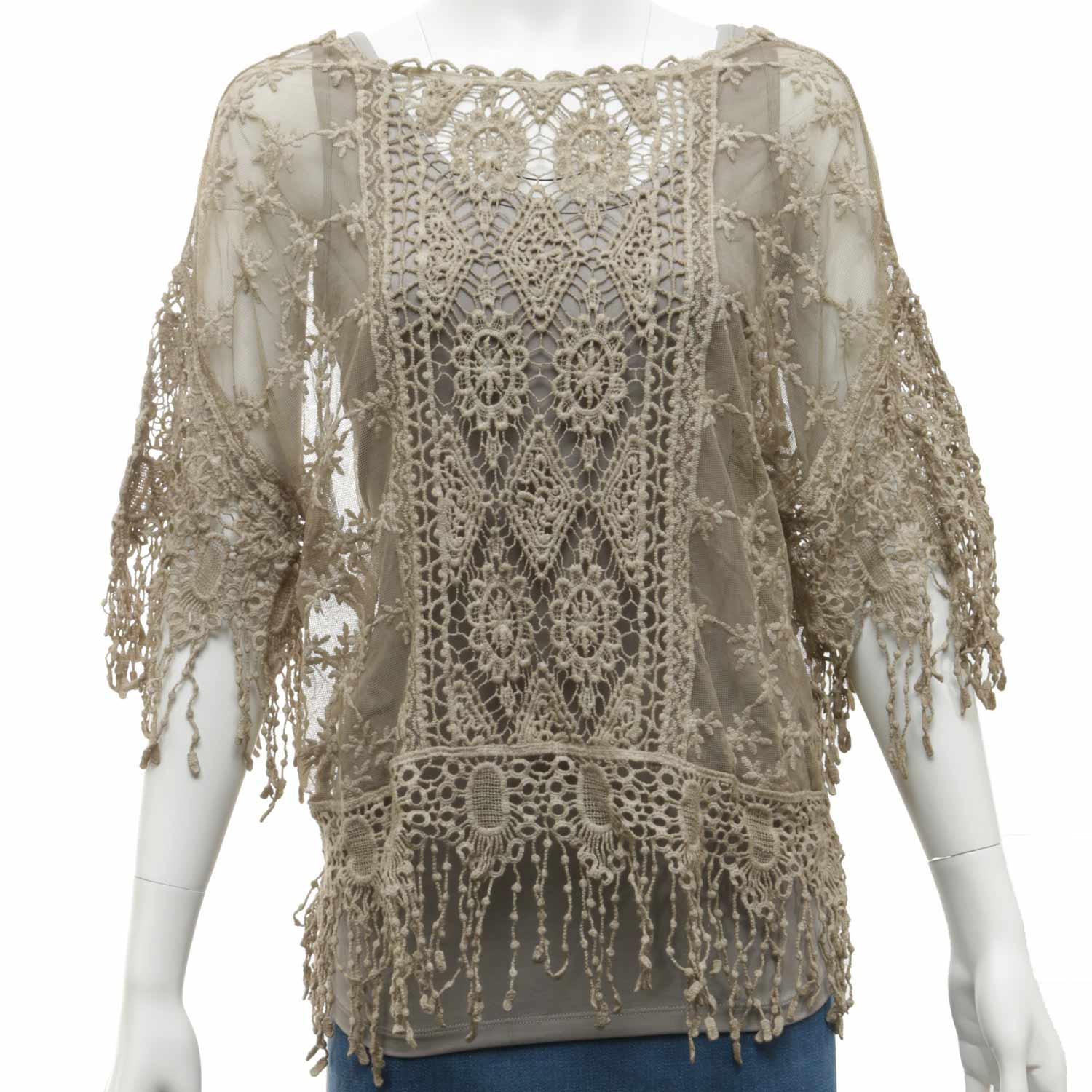 """Taupe Sheer Crocheted Top 26""""x21"""""""
