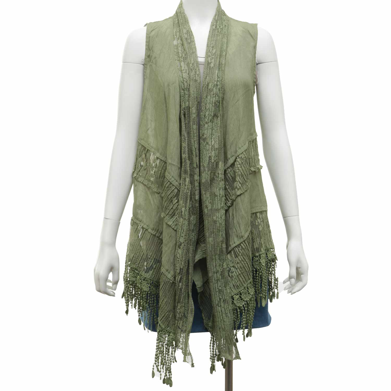 """Green Sheer Lace Vest 33""""x56"""""""