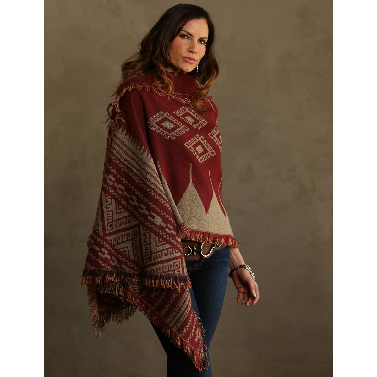 "TAN/RED SHAWL 76""X23"" REVERSIBLE"