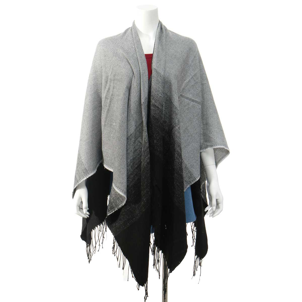 Grey/Black Wrap with Fringe 50sp