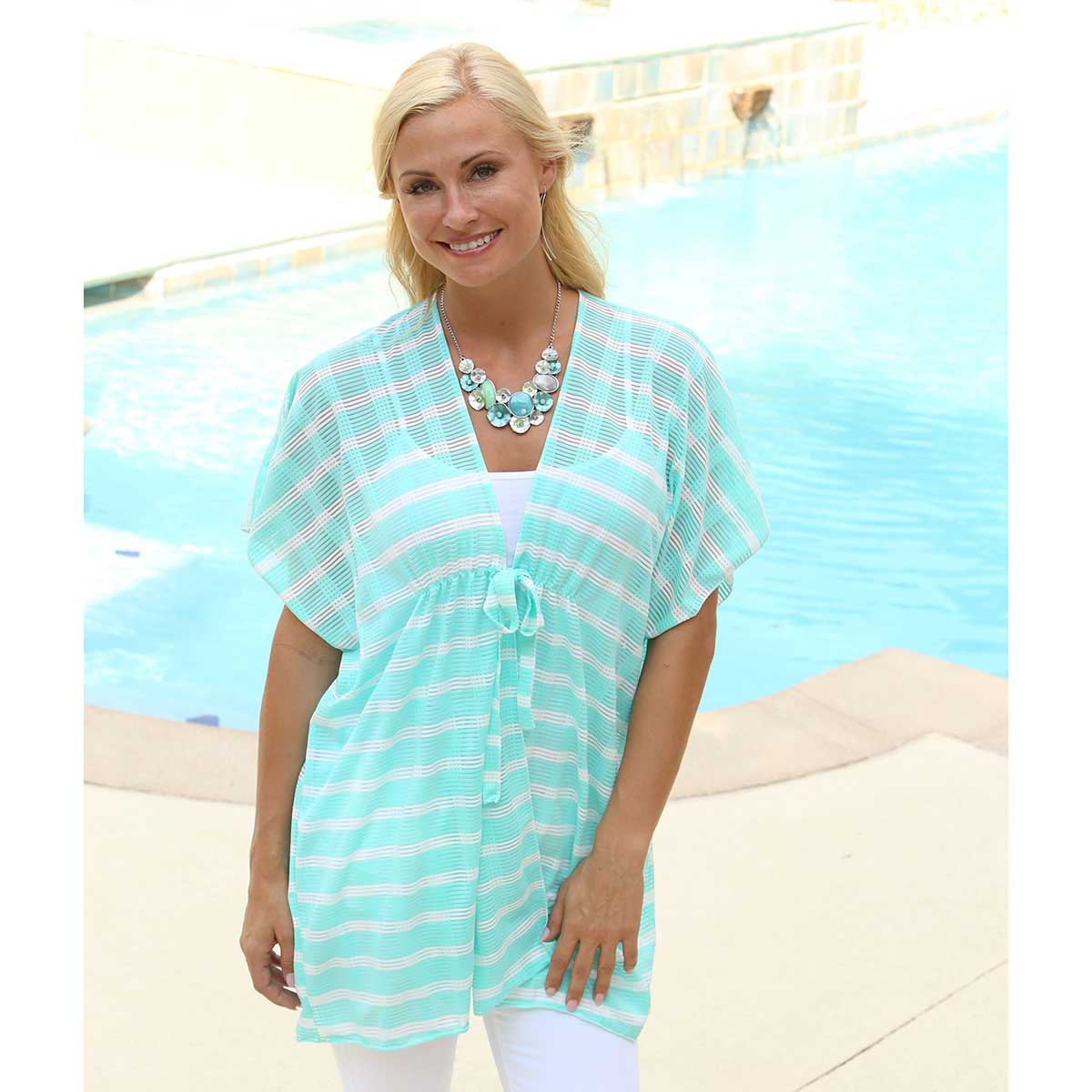 "TL/White WAVY STRIPE 58""X32"" TUNIC"
