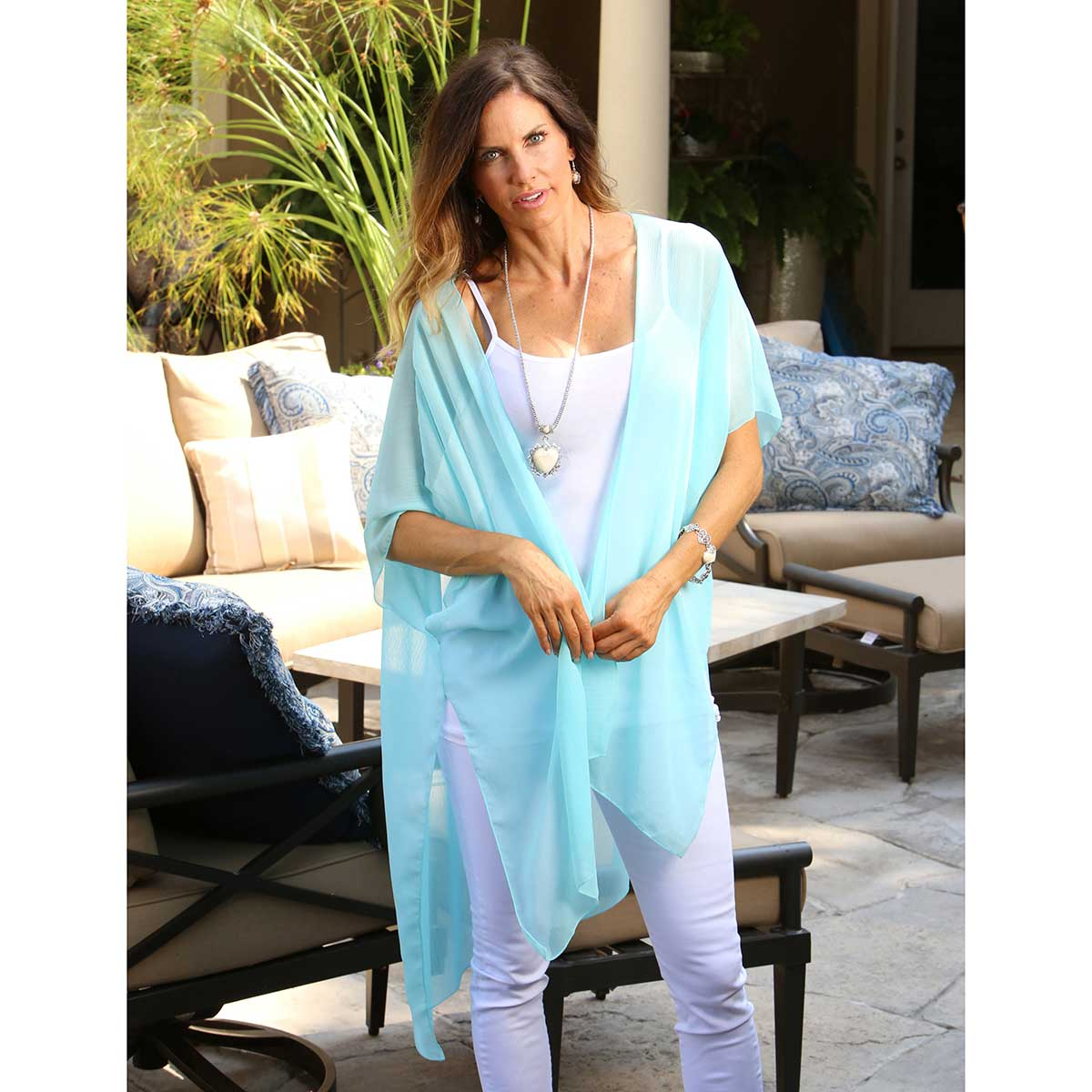 "TEAL SHEER 70""X38"" VEST WRAP"