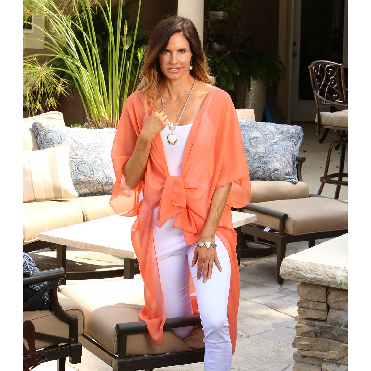 Coral Sheer Vest Wrap 50sp