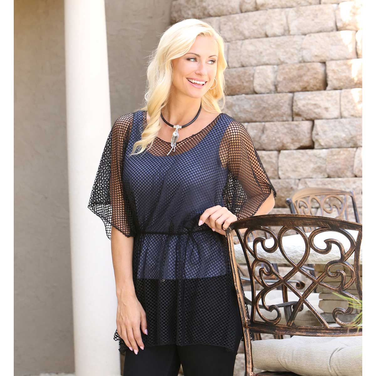 Black Lattice Tunic with Tie 50sp