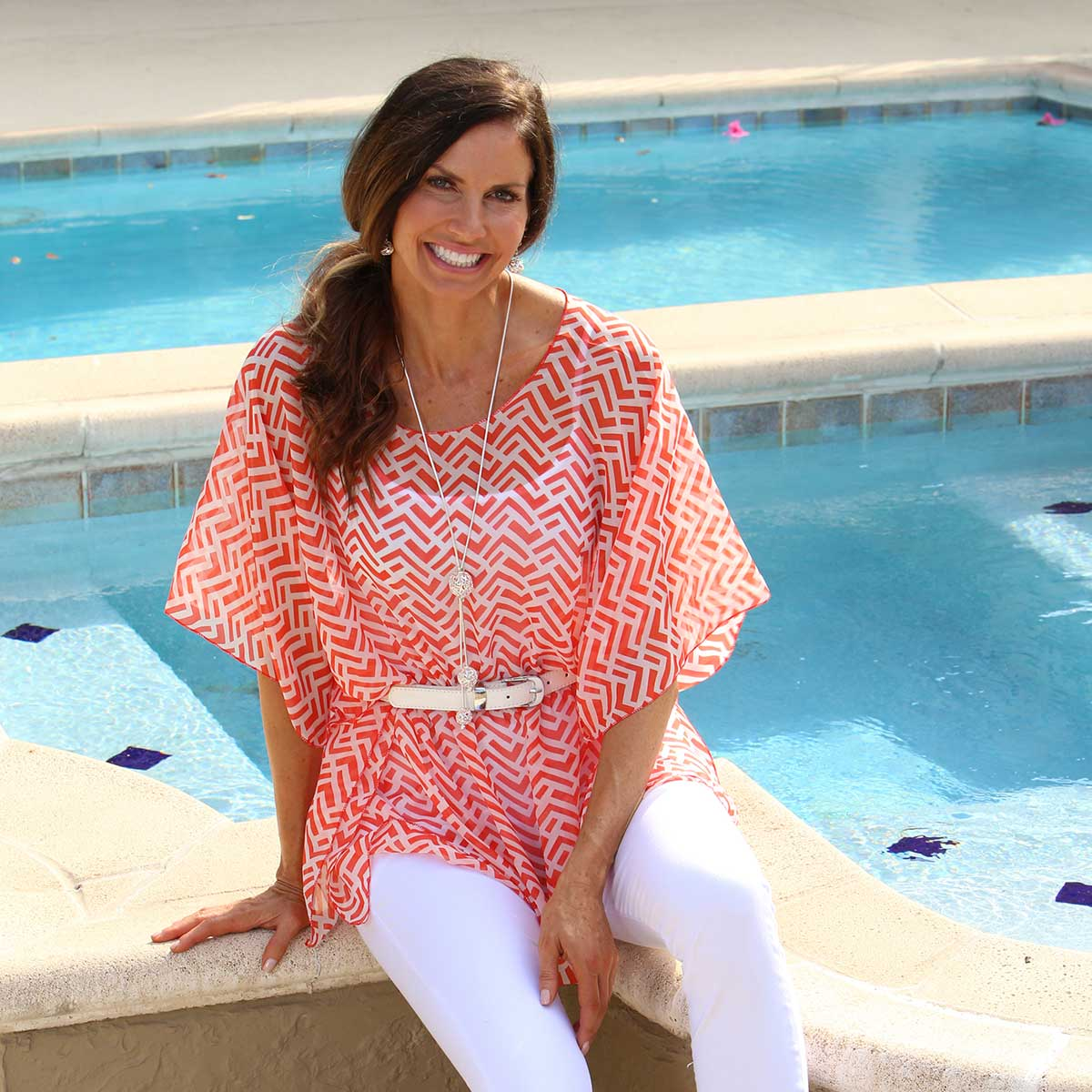 Coral and White Chevron Tunic 50sp