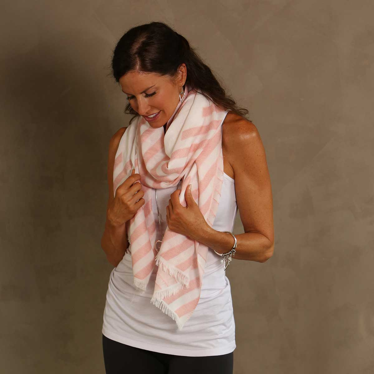 "PEACH STRIPE 26""X72"" SHAWL/S"