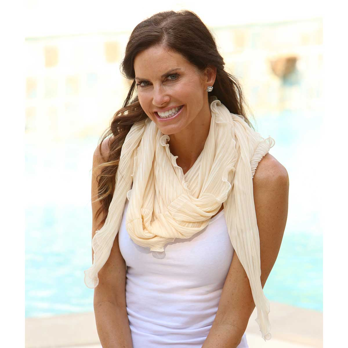 Cream Scallop Shrug Scarf