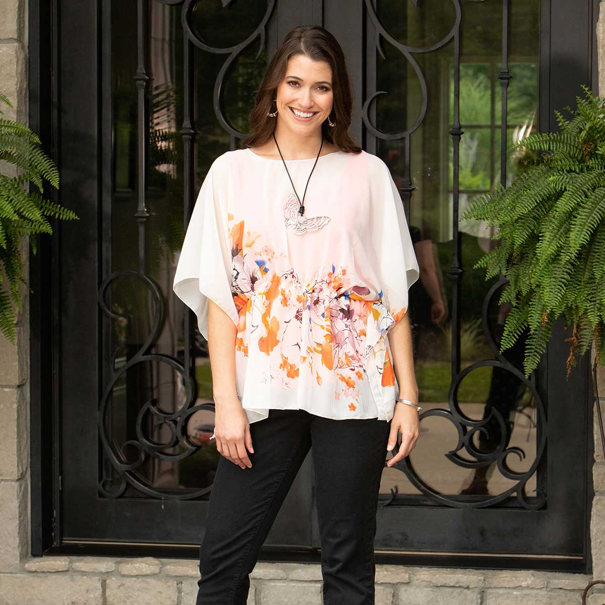 "Yellow/Orange Floral Tunic with Elastic Waistband 28""x27"""