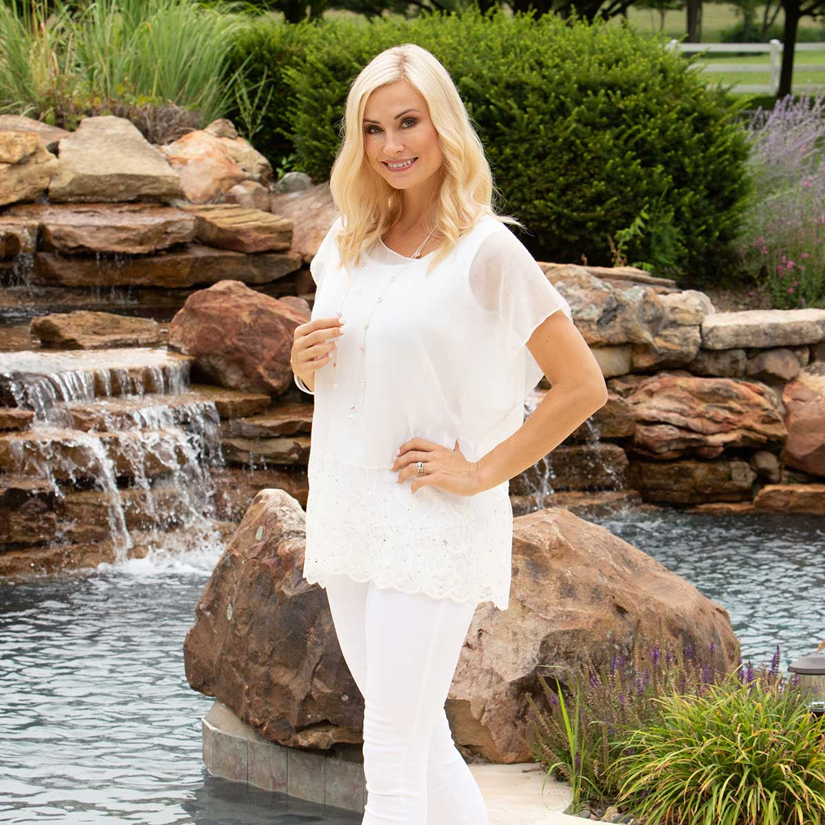 "White Tunic with Lace and Crystal Trim 27""x30"""