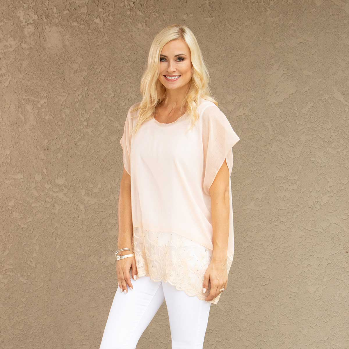 "Peach Tunic with Lace and Crystal Trim 27""x30"""