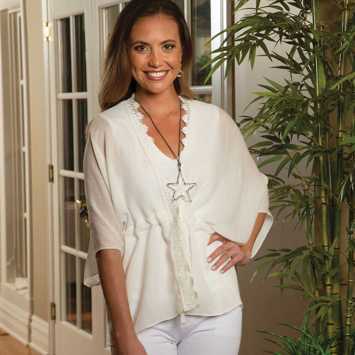 "White Tunic with Lace and Adjustable Tie 36""x26"""
