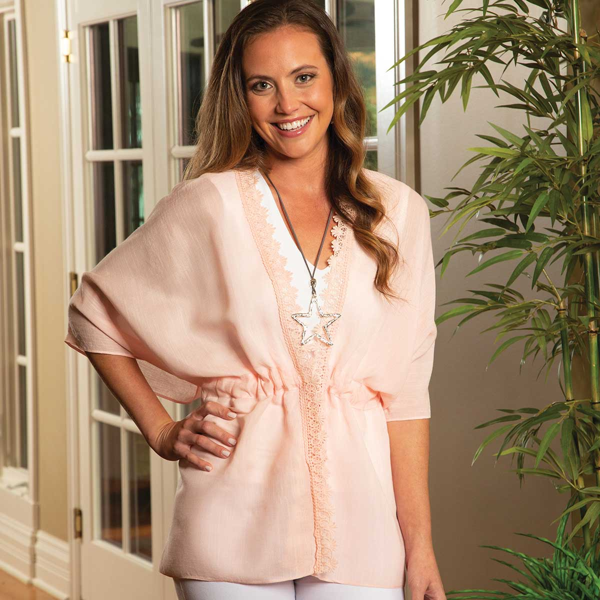 "Pink Tunic with Lace and Adjustable Tie 36""x26"""