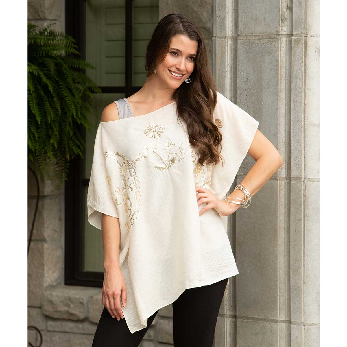 "Cream Tunic with Gold Sequins 34""x28"""